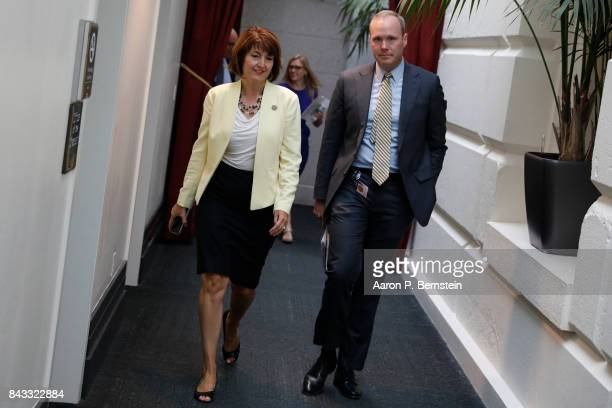 Rep Cathy McMorris Rodgers arrives for a meeting with the House Republicans in the US Capitol September 6 2017 in Washington DC Republicans are...