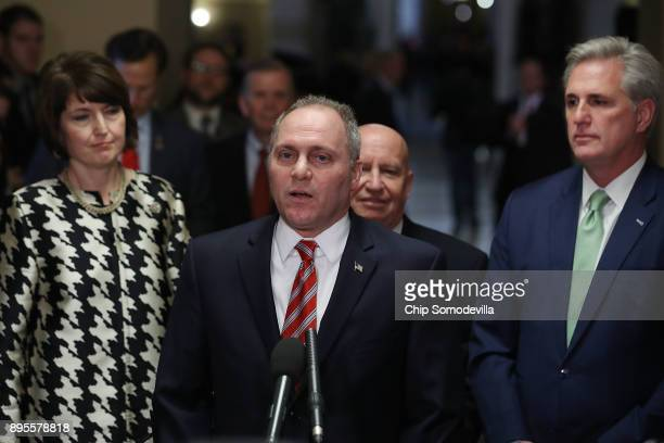 Rep Cathy McMorris Rodgers Majority Whip Steve Scalise Ways and Means Committee Chairman Kevin Brady and Majority Leader Kevin McCarthy as they talk...