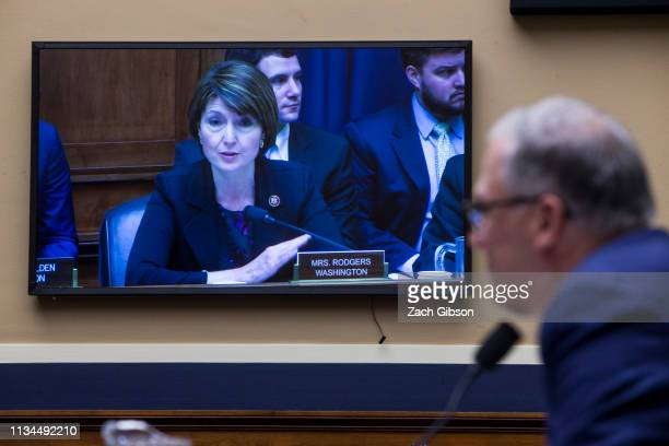 Rep Cathy McMorris Rodgers questions Gov Jay Inslee during a House Energy and Commerce Environment and Climate Change Subcommittee hearing on Capitol...