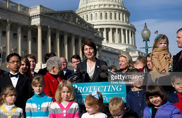 Rep Cathy McMorris Rodgers RWash speaks at a press conference with other GOP members attacking the lack of focus on the national debt during the...