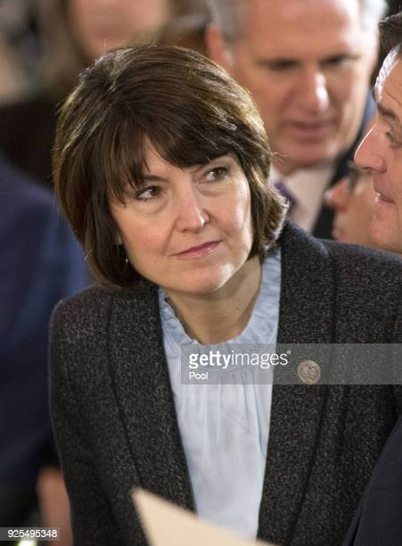 Rep. Cathy McMorris Rogers attends a ceremony honoring Reverend Billy Graham as he lies in repose at the U.S. Capitol, on February 28, 2018 in...