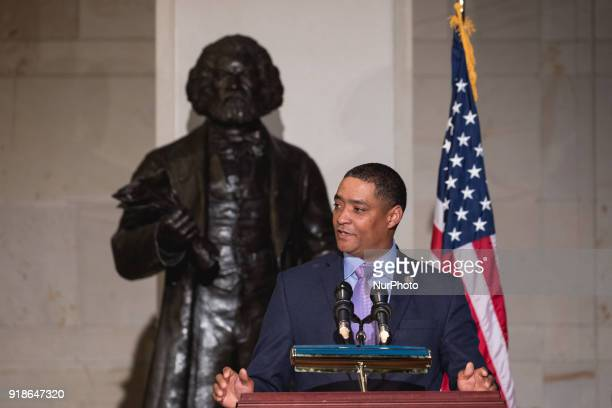 Rep Cedric Richmond chairman of the Black Congressional Caucus speaks at the Commemoration of the Bicentennial of the Birth of Frederick Douglass in...