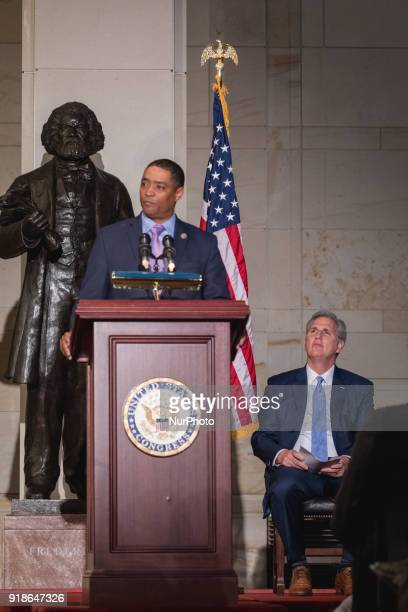 Rep Cedric Richmond chairman of the Black Congressional Caucus speaks as his cohost Majority Leader Kevin McCarthy listens at the Commemoration of...