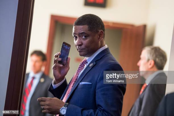 Rep Cedric Richmond DLa Congressional Black Caucus chairman prepares for a news conference in the Capitol Visitor Center to discuss a resolution to...