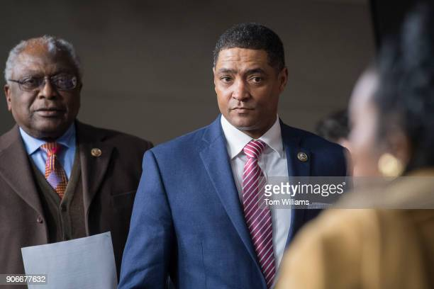 Rep Cedric Richmond DLa right Congressional Black Caucus chairman and Rep James Clyburn DSC arrive for a news conference in the Capitol Visitor...