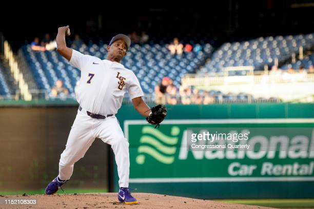 Rep Cedric Richmond DLa throws a pitch during the 58th annual Congressional Baseball Game at Nationals Park on Wednesday June 26 2019