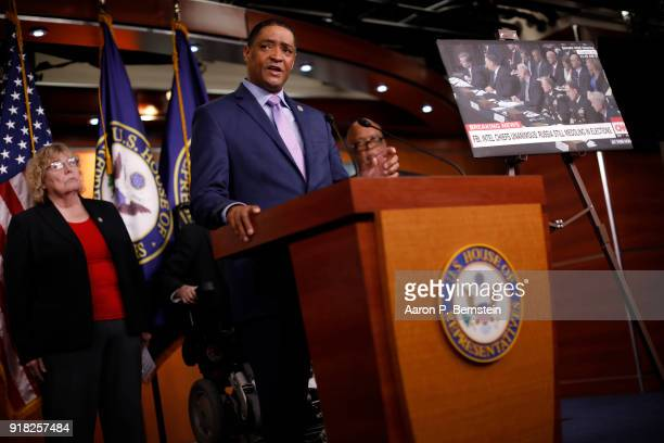 Rep Cedric Richmond speaks at a press conference on Capitol Hill on February 14 2018 in Washington DC Pelosi and her fellow Democrats addressed the...