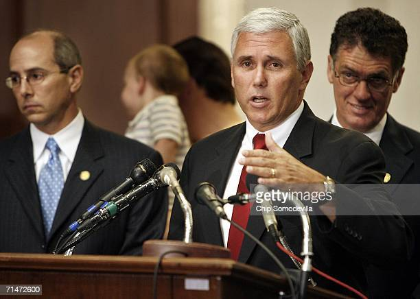 US Rep Charles Boustany US Rep Mike Pence and US Rep Dave Weldon hold a press conference on Capitol Hill July 18 2006 in Washington DC House...