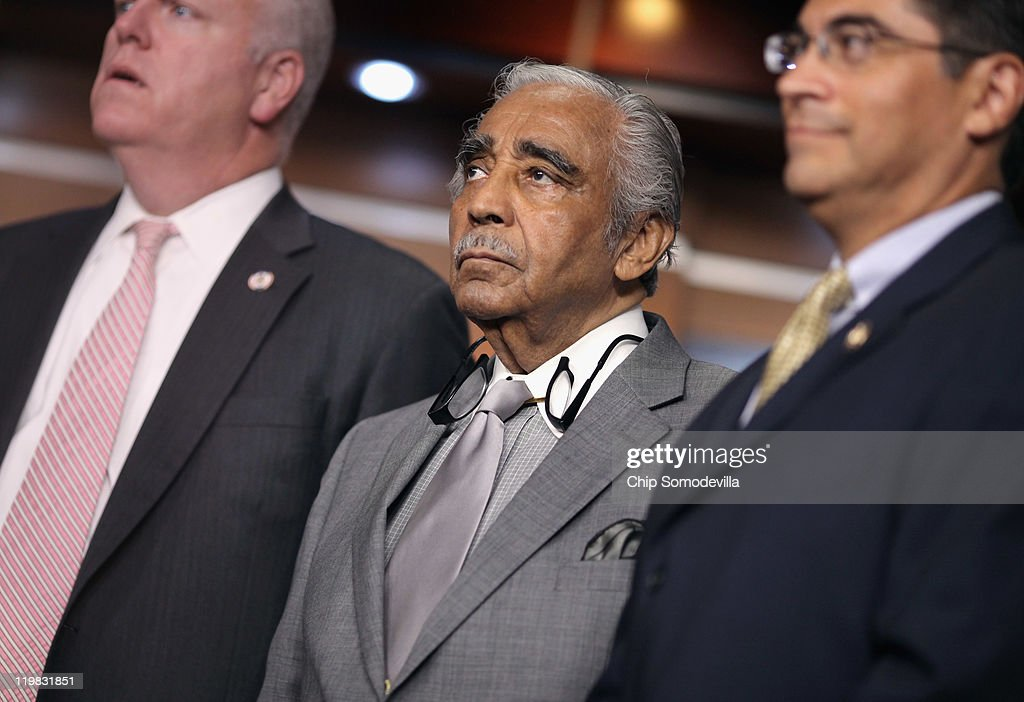 Rep. Charlie Rangel (D-NY) (C) attends news conference with members of the House Democratic caucus July 25, 2011 in Washington, DC. The lawmakers accused their Republicans colleagues of adding what Democrats call 'job killing' proposals as part of the ongoing budget and debt ceiling negotiations.