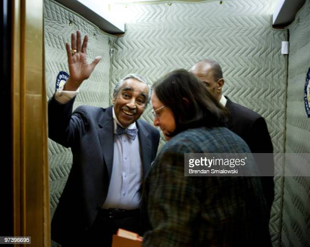 Rep Charlie Rangel waves from an elevator on Capitol Hill March 3 2010 in Washington DC Rep Charlie Rangel announced he is temporarily stepping down...