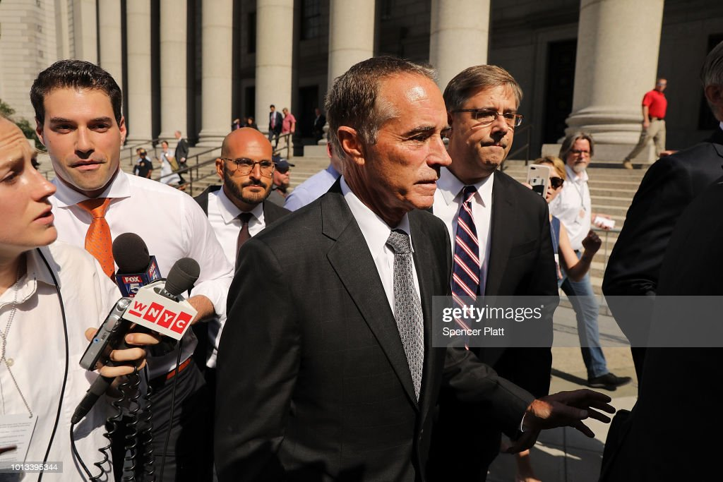 Rep. Chris Collins (R-NY) walks out of a New York court house after being charged with insider trading on August 8, 2018 in New York City. Federal prosecutors have charged Collins, one of President Trump's earliest congressional supporters, with securities fraud, accusing the congressman and his son of using inside information about a biotechnology company to make illicit stock trades.