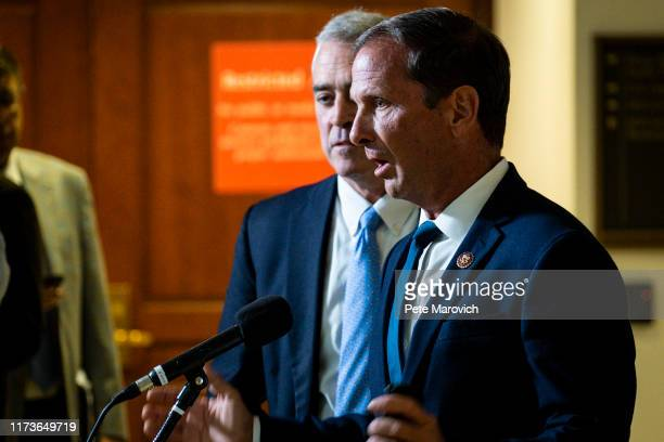 Rep Chris Stewart speaks to the media after leaving a closed door briefing with Intelligence Community Inspector General Michael Atkinson before the...