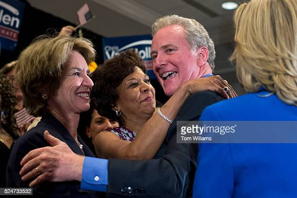 Rep. Chris Van Hollen, D-Md., celebrates with Yvette Lewis, center, and Kathleen Kennedy Townsend during a victory party at the Bethesda Marriott...