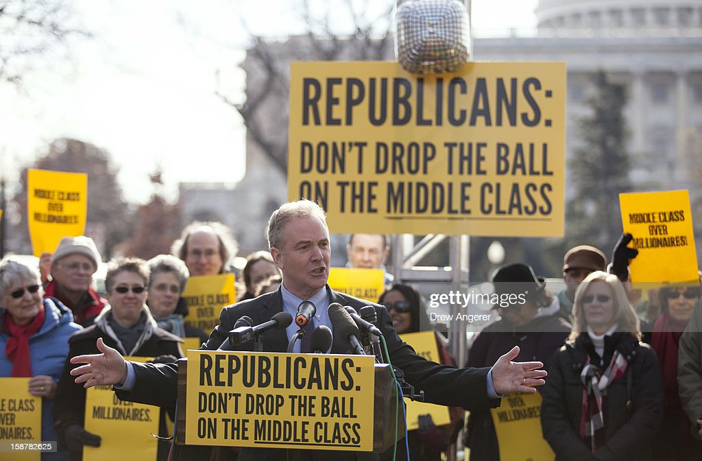 Rep. Chris Van Hollen (D-MD) speaks during a press conference on the 'fiscal cliff' sponsored by the group 'Join the Action' on Capitol Hill December 28, 2012 in Washington, DC. Van Hollen said the middle class would be hurt the most if the country goes over the 'fiscal cliff.'