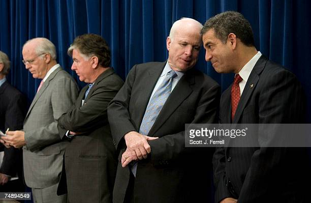 Rep Christopher Shays RConn Rep Martin T Meehan DMass Sen John McCain RAriz and Sen Russell Feingold DWis during a news conference on legislation on...