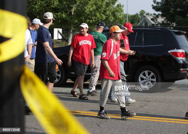 S Rep Chuck Fleischmann leaves the Eugene Simpson Stadium Park where a shooting took place on June 14 2017 in Alexandria Virginia US House Majority...