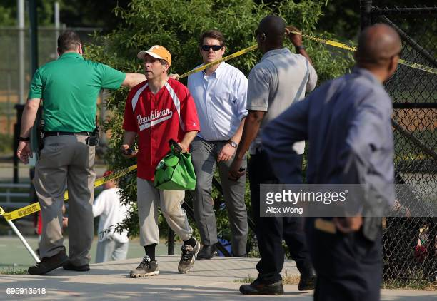 S Rep Chuck Fleischmann wearing a Republican jersey leaves the site of a morning shooting at Eugene Simpson Stadium Park June 14 2017 in Alexandria...