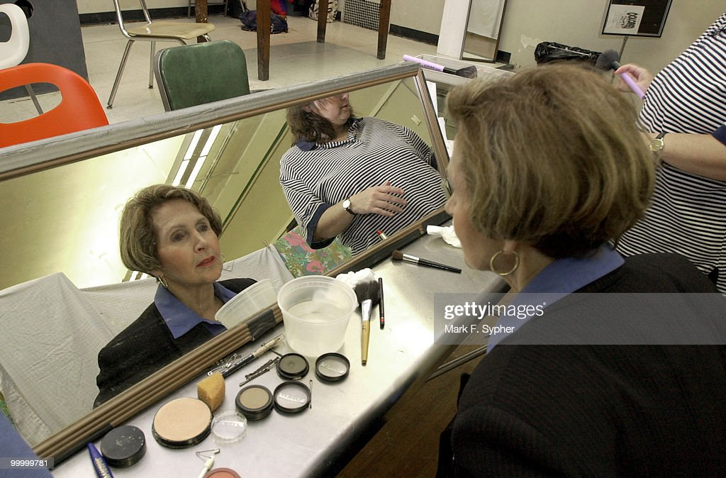 Rep. Constance A. Morella (R-MD) gets a little help with make-up from Cathy Dunn moments before Morella takes to the stage for Hexagon's Congress night on Wednesday.