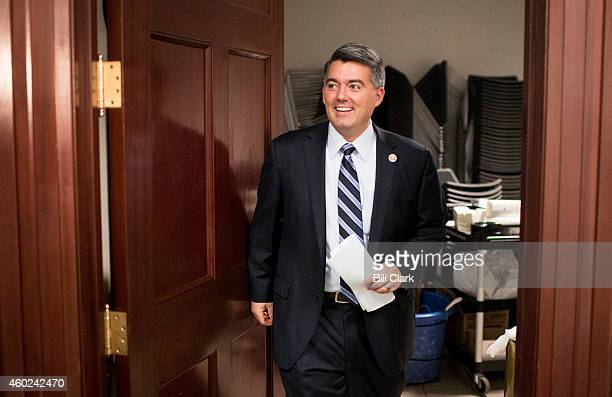 Rep Cory Gardner RColo leaves the House Republican Conference meeting in the basement of the Capitol on Wednesday Dec 10 2014