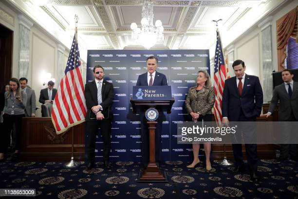 Rep Dan Crenshaw Sen Mitt Romney Rep Ann Wagner and Sen Marco Rubio introduce their paid family leave legislation during a news conference in the...