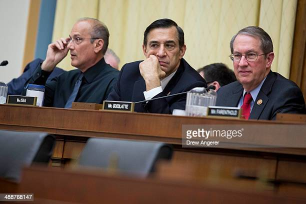 Rep Darrell Issa and Rep Bob Goodlatte listen during a House Judiciary Committee hearing on the proposed merger of Time Warner Cable and Comcast on...