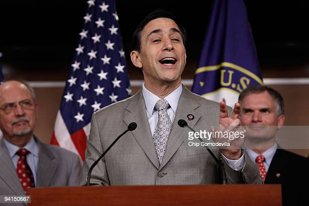 Rep Darrell Issa speaks during a news conference on 'energy climategate and President Obama's trip to Copenhagen' with members of the House...
