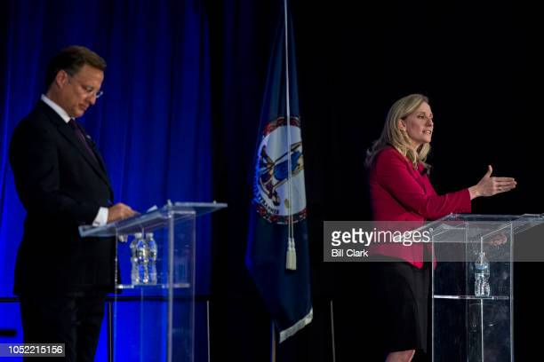 Rep Dave Brat RVa and his Democratic challenger Abigail Spanberger participate in the Virginia 7th Congressional district debate at the Germanna...