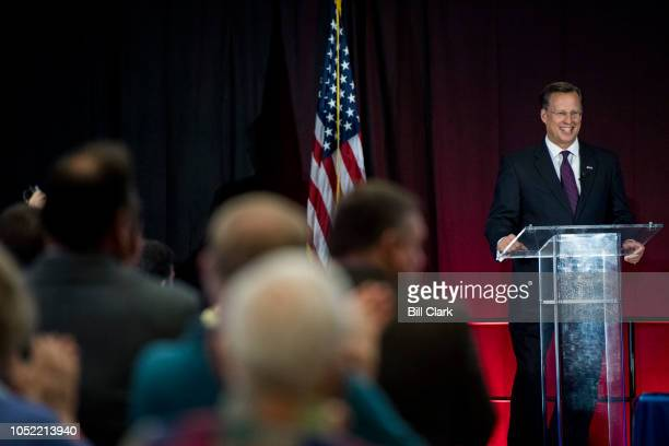 Rep Dave Brat RVa speaks during the Virginia 7th Congressional district debate with his Democratic challenger Abigail Spanberger at the Germanna...
