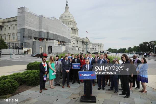 Rep David Cicilline addresses a rally and news conference with Rep Mark Takano Rep Chris Pappas and leaders from LGBTQ advocacy organizations before...