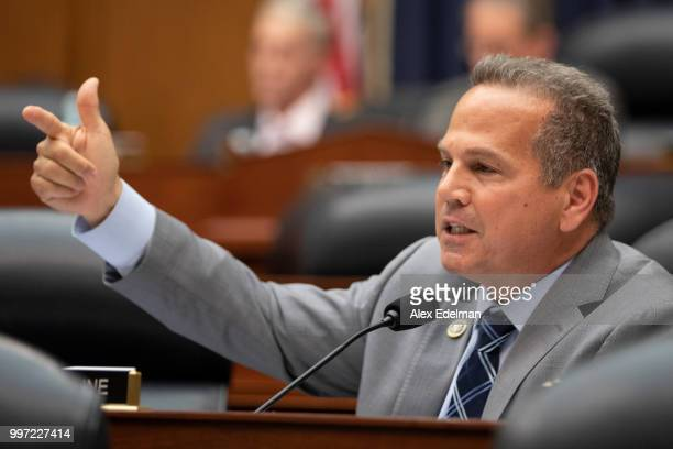 Rep David Cicilline asks Deputy Assistant FBI Director Peter Strzok a question on July 12 2018 in Washington DC Strzok testified before a joint...