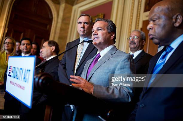 Rep David Cicilline DRI speaks during an event in the Capitol on the Equality Act that bans discrimination against LGBT people in federal law July 23...