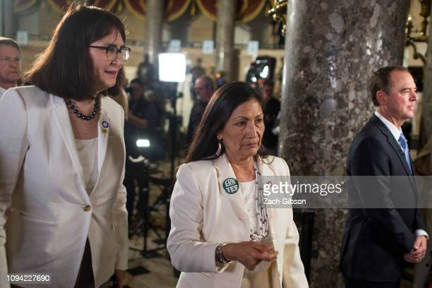 Rep Deb Haaland arrives ahead of the State of the Union address in the chamber of the US House of Representatives at the US Capitol Building on...