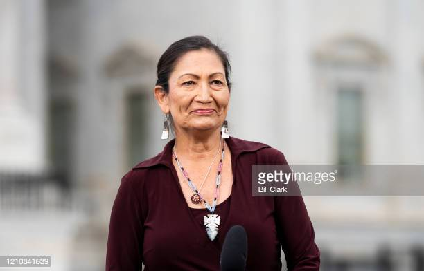 Rep. Deb Haaland, D-N.M., does a TV interview outside of the U.S. Capitol before the House vote on the $483.4 billion economic relief package on...
