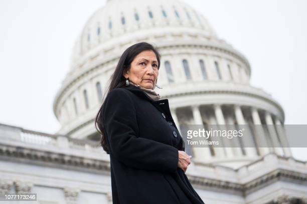 Rep Deb Haaland DNM makes her way to a group photo with Democratic women members of the House on the East Front of the Capitol on January 4 2019