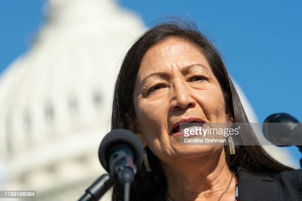 Rep Deb Haaland DNM speaks during a news conference with ranchers supporting the Green New Deal and farm policy reform in Washington on Wednesday...