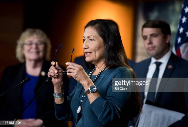 Rep Deb Haaland DNM speaks during the House Democrats news conference on HR1 the For the People Act on Friday Sept 27 2019
