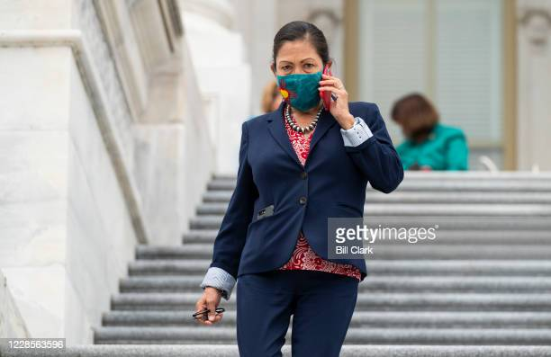Rep. Deb Haaland, D-N.M., walks down the House steps after a vote in the Capitol on Thursday, Sept. 17, 2020.