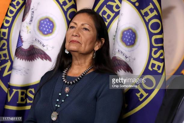 Rep Deb Haaland joins fellow House Democrats for a news conference to mark 200 days since they passed HR 1 the For the People Act at the US Capitol...