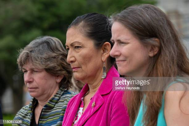 S Rep Deb Haaland listens at a press conference on the No Shame at School Act on June 19 2019 in Washington DC The bill which is sponsored by US Rep...