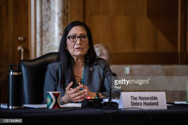 Rep. Deb Haaland , nominee for Secretary of the Interior, testifies at her confirmation hearing before the Senate Committee on Energy and Natural...