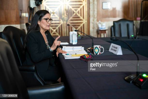 Rep. Deb Haaland , nominee for Secretary of the Interior, testifies at her confirmation hearing before the Senate Energy and Natural Resources...