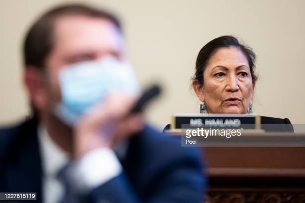 Rep. Deb Haaland, , questions Gregory T. Monahan, Acting Chief U.S. Park Police National Park Police, during the House Natural Resources Committee...