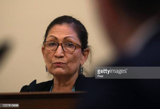 S Rep Deb Haaland questions Major Adam DeMarco of the District of Columbia National Guard as he testifies as he testifies about the June 1...