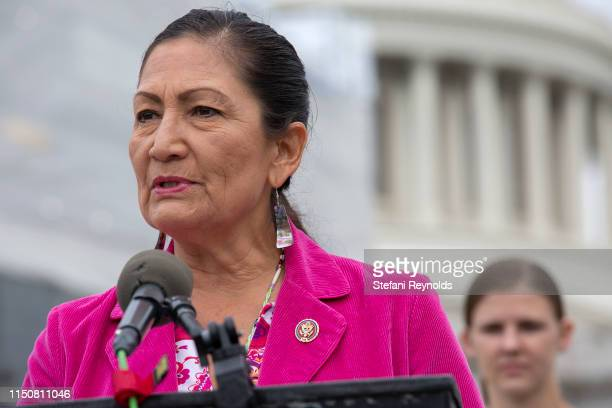 S Rep Deb Haaland speaks at a press conference on the No Shame at School Act on June 19 2019 in Washington DC The bill which is sponsored by US Rep...