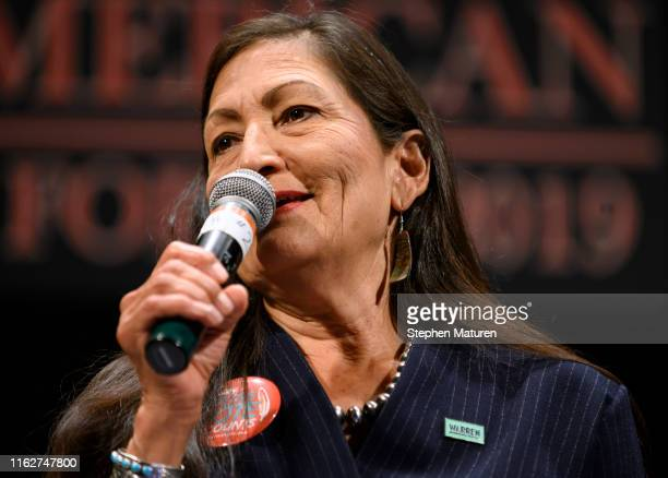 Rep Deb Haaland speaks at the Frank LaMere Native American Presidential Forum on August 19 2019 in Sioux City Iowa Haaland introduced Sen Elizabeth...