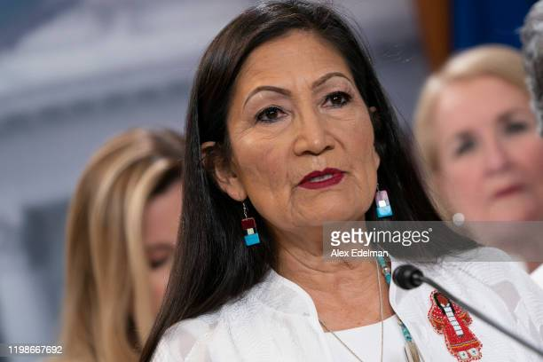 S Rep Deb Haaland speaks during a news conference with members of the Democratic Women's Caucus prior to State of the Union at the US Capitol on...