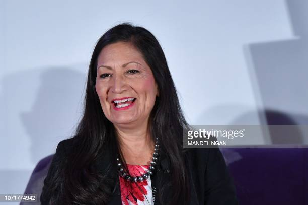 Rep Deb Haaland speaks during the 6th Annual Women Rule Summit at a hotel in Washington DC on December 11 2018