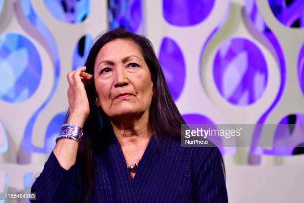 Rep Deb Haaland takes part in a panel discussion led by Aimee Allison touching the changes of the face of power in the United States after a history...