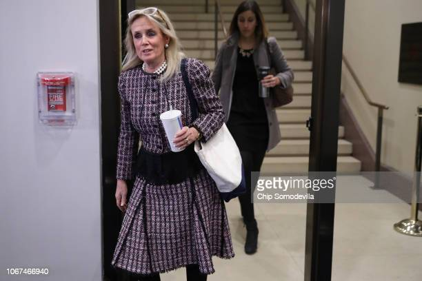 Rep Debbie Dingell arrives for a Democratic caucus meeting in the US Capitol Visitors Center November 14 2018 in Washington DC Democrats gained 33...