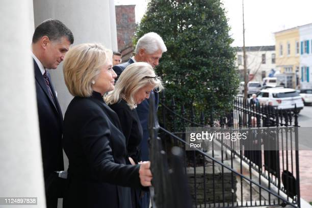 Rep Debbie Dingell DMich center front departs the church with former President Bill Clinton and former Sec of State Hillary Clinton at the conclusion...